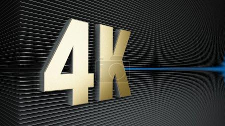 Photo pour 4K ultra haute définition technologie de télévision logo doré - image libre de droit