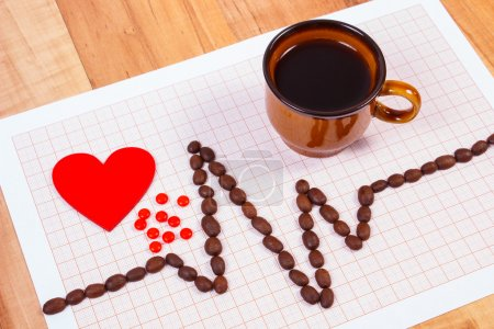 Cardiogram line of coffee grains, cup of coffee and supplement pills, medicine and healthcare concept