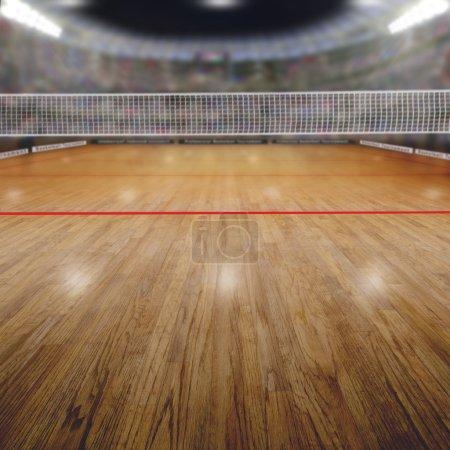 Foto de Arena de voleibol lleno de aficionados en las gradas con deliberado enfoque en primer plano y poca profundidad de campo en el fondo neto y corte. Focos flare de efecto y copia. - Imagen libre de derechos