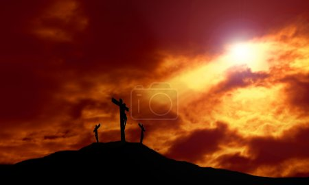 Crucifixion of Jesus With Dramatic Sky and Copy Space