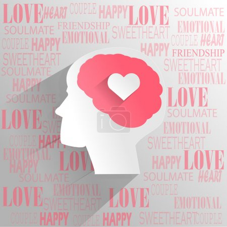 Illustration for Human brain with love emotion thinking - Royalty Free Image