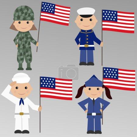 Illustration pour Enfants avec uniforme militaire américain - image libre de droit