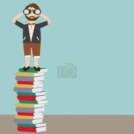Hipster man with telescope standing on a lot of books