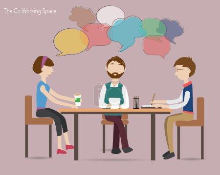 Illustration pour Trois personnes se réunissent dans l'espace de co-travail - image libre de droit