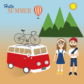 Hipster man and girl travel in summer with bicycle