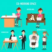 People working in the co-working space infographics elementsill