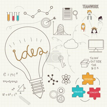 Lightbulb show ideas concept with doodles icons vector illustrat