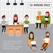 Hipster people working in the co-working space infographics elem
