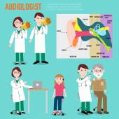 Audiologist  audiology  anatomy of ear vector infographic illustration EPS10