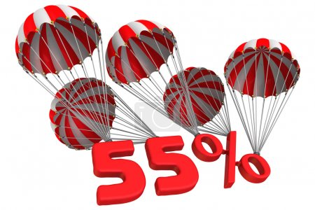 Fifty five percent is flying on parachutes