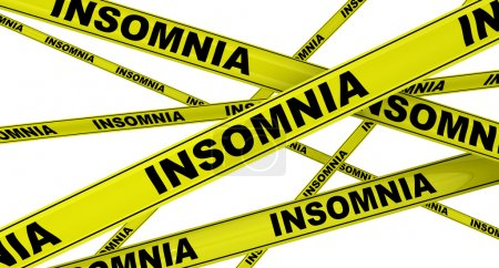 Photo for Insomnia. Yellow warning tapes with black words INSOMNIA. Isolated. 3D Illustration - Royalty Free Image