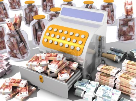 Open the cash register filled with Russian banknot...