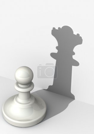 Foto de White pawn with the shadow of queen. The concept of very high self-esteem. The three-dimensional illustration. Isolated - Imagen libre de derechos