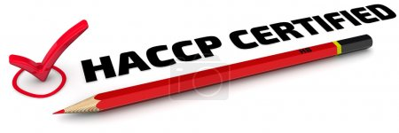 """Photo for The mark """"HACCP CERTIFIED"""" (Hazard analysis and critical control points or HACCP is a systematic preventive approach to food safety from biological, chemical, and physical hazards in production processes). Red pencil and mark on white surface - Royalty Free Image"""