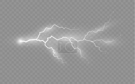 Illustration pour L'effet de la foudre et de l'éclairage, ensemble de fermetures éclair, l'orage et la foudre, symbole de force naturelle ou de magie, la lumière et la brillance, abstrait, électricité et explosion, illustration vectorielle, eps 10 - image libre de droit