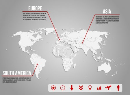 Infographic -world map with various icons