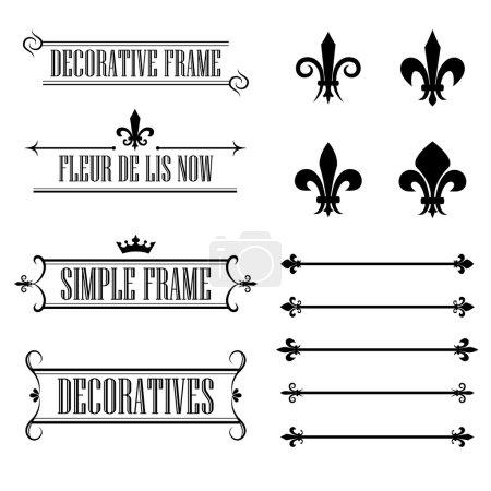 Set of calligraphic flourish design elements - fleur de lis, deviders, frames and borders - decorative vintage style
