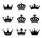 Set of 9 crown vector silhouette symbols Fully editable EPS10