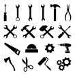 Collection of black flat icons related to technolo...
