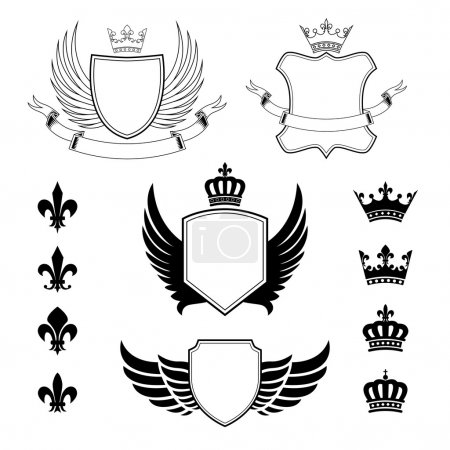 Set of winged shields - coat of arms - heraldic design elements, fleur de lis signs and royal crown silhouettes