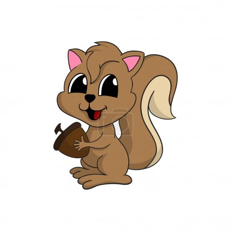 Illustration for Cartoon illustration of a cute little happy squirrel smiling and holding a nut. - Royalty Free Image