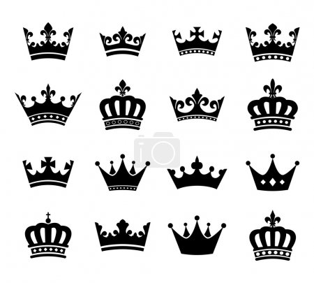 Set of 16 crown vector silhouette symbols. Fully e...