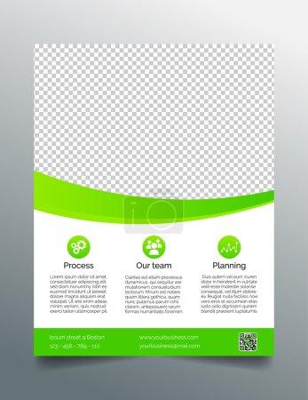 Illustration pour Modèle de dépliant d'affaires moderne - design vert et blanc. 8,5x11 pouces . - image libre de droit
