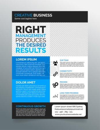 Ilustración de Tamaño a4 de negocios moderno flyer plantilla - diseño gris oscuro y azul- - Imagen libre de derechos