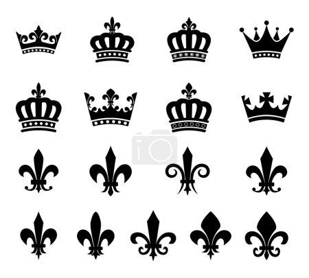 Collection of crown and fleur de lis design elements