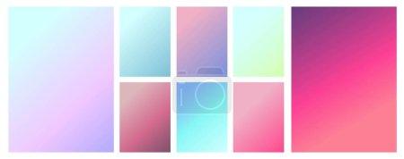 Illustration pour Un ensemble de textures dégradées dans des couleurs rétro douces et délicates. Des couleurs floues. Gradient de fond pour la conception d'applications, pages Web, impressions papier et tissu. Image vectorielle - image libre de droit