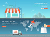 Online shopping and delivery options flat banner Eps10