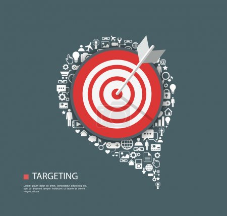 Illustration for Flat illustration of targeting with icons. EPs10 - Royalty Free Image