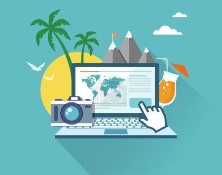 Booking online flat illustration