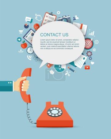 Illustration pour Illustration plate du téléphone à main avec icônes. Contactez-nous. Eps10 - image libre de droit