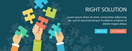 Illustration pour Bannière plate de la bonne solution. Mains tenant un puzzle. Eps10 - image libre de droit