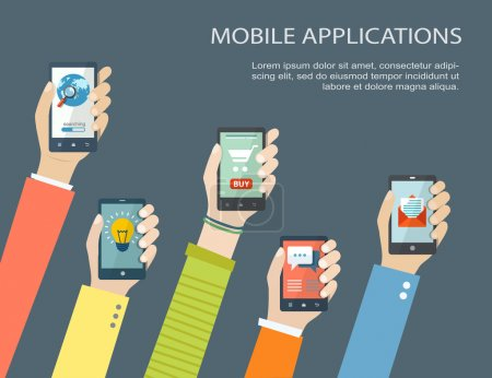 Illustration for Mobile application concept. Hands holding phones. Eps10 - Royalty Free Image
