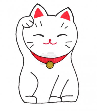 Maneki-neko cat figurine. Lucky cat on the white background. Hand-drawn original element