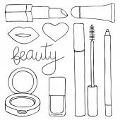Cosmetics or make up set Hand-drawn cartoon collection of cosmetic products - lip gloss lipstick mascara pencil cushion lips nail polish Doodle drawing Vector illustration