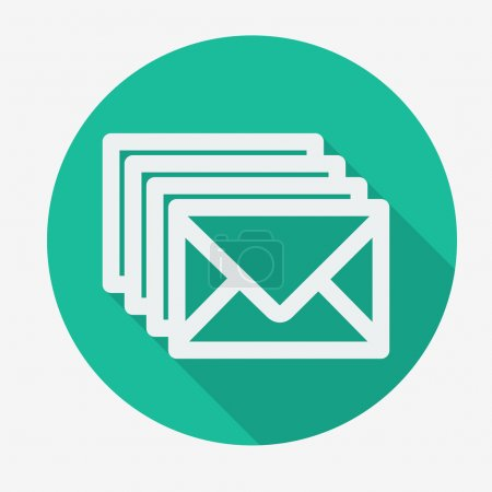 Four envelopes flat icon with long shadow.