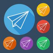 Paper plane flat icons set with long shadow