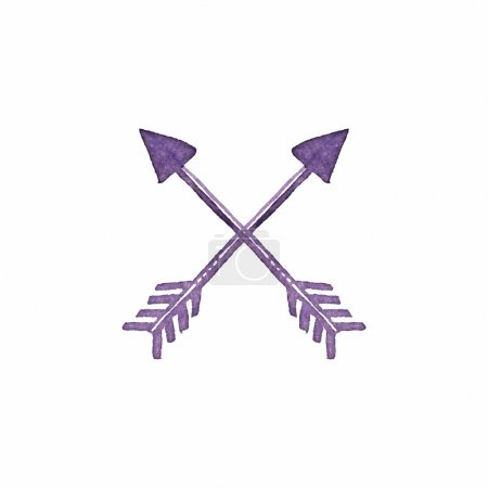 Illustration for Crossed arrows. Native american indian arrow, traditional symbol. Simple watercolor element. Vector illustration - Royalty Free Image