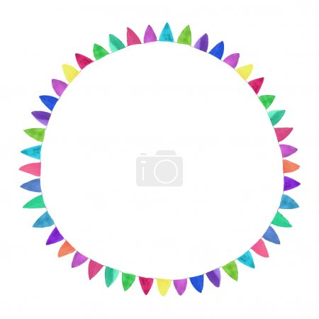 Multicolored bright circle. Watercolor concept on the white background, aquarelle. Vector illustration.
