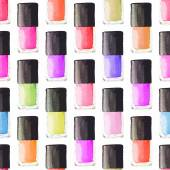 Seamless watercolor pattern with beauty items on the white background, aquarelle nail polish.  Vector illustration. Hand-drawn background.