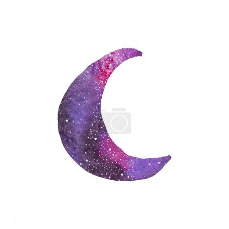Cosmic crescent. Watercolor galaxy crescent on the white background, aquarelle. Vector illustration.