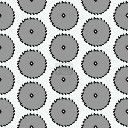 Disk of circular saw - wood and tools. Hand-drawn seamless cartoon pattern with cold saws. Vector illustration.