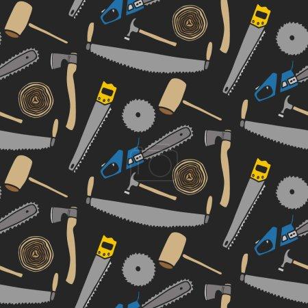 Lumberjack set, wood and tools. Hand-drawn seamless cartoon pattern with lumber clothing. Vector illustration.