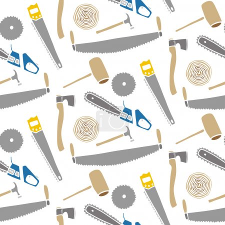 Saws and hammers - wood and tools. Hand-drawn seamless cartoon pattern with logging device. Vector illustration.