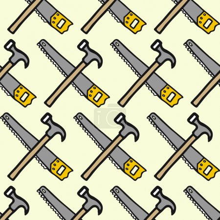 Saw and claw hammer - wood and tools. Hand-drawn seamless cartoon pattern with logging equipment. Vector illustration.