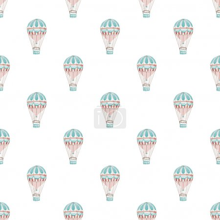 Seamless pattern with hot air-baloons. Hand-drawn background. Vector illustration.