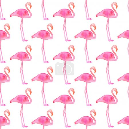 Seamless pattern with flamingos. Hand-drawn background. Vector illustration.